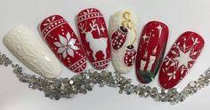 Ногтеманияк   Маникюр, ногти, идеи дизайна New Nail Art Design, Nail Art Designs, Winter Nail Art, Winter Nails, Christmas Nail Art, Holiday Nails, Love Nails, Fun Nails, Nail Noel