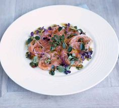 This recipe is absolutely amazing. Gordon Ramsay's salmon ceviche with soy sauce, sesame oil and micro leaves