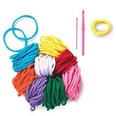 "Weave whatever you want! Ages 6 and up. Imported.SET INCLUDES: • 7"" x 7"" loom • 184 loops-yellow, red, pink, green, purple, orange, blue, white (23 pieces each) • plastic needle • hook and needle • yellow yarn-approx. 34"" • instruction sheet"