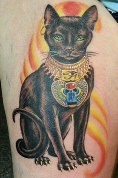 Coloured sacred egyptian cat tattoo