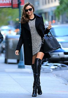 Miranda Kerr in black overknees.
