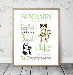 """Geburtsanzeige """"Tiger Panda"""" Kinderzimmer Kunstdruck"""