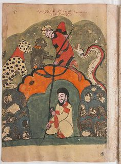"""The Traveller Rescues the Goldsmith from the Pit Against the Advice of the Animals"", Folio from a Kalila wa Dimma, 18th century. Egypt or Syria. The Metropolitan Museum of Art, New York. The Alice and Nasli Heeramaneck Collection, Gift of Alice Heeramaneck, 1981 (1981.373.90) #mustache #movember"
