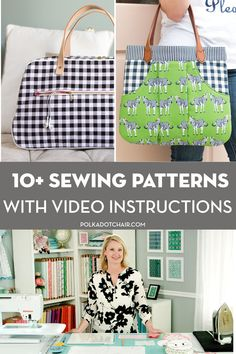 Learn how to make quilts and bags with these video tutorials for our most popular bag and quilt patterns. Quilting Tutorials, Sewing Tutorials, Video Tutorials, Sewing Projects, Sewing Ideas, Bag Patterns To Sew, Sewing Patterns Free, Quilt Patterns, Lap Quilt Size