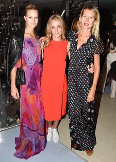 Nadine Leopold in the DVF Camila Resort dress with Elizabeth Gilpin, and Natalie Joos in the DVF Caterina Resort jumpsuit #NYFW