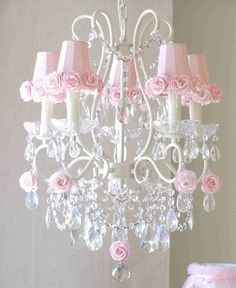 5 Light Chandelier With Pink Rose Shades by A Vintage Light