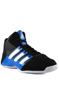 Adidas Commander Td3 basketball shoes. Made of leather with black and blue  color combination.