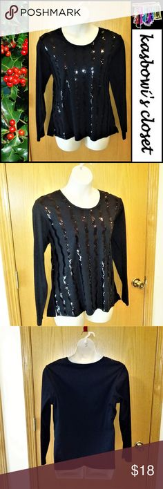 "Black Sequin Holiday/Party Top NWOT DESCRIPTION: Medium weight stretchy jersey fabric in black with black sequins in wavy stripes down the front.  FABRIC CARE: Cotton poly blend is hand washable.  QF SIZE CHART: 44.5-46.5"" bust, 38.5-40.5"" waist, 47-49"" hip. 27"" long from back of neck. 25"" sleeve from shoulder.  CONDITION: New unused condition but without price tags. Envelope with extra sequins still attached. Quacker Factory Tops"
