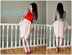 DIY Polka Dot Pocket Skirt - time to learn how to sew! this is just too cute! and with my red ballet flats? perfect!