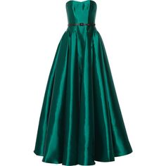 Badgley Mischka Belted gazar gown ($740) ❤ liked on Polyvore featuring dresses, gowns, long dress, emerald, green fitted dress, badgley mischka dresses, badgley mischka evening dresses, long pleated dress and fitted dresses