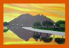Cerro de la Silla  desde Parque Fundidora _ oleo sobre lienzo - Oil on canvas - 20 x 30 cm