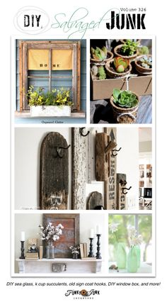 PJ 326 - DIY salvaged junk projects - DIY sea glass, old signs wall hooks, wine holder ribbon sorter, old window flower box, and more! Features & linkup!