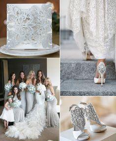 modern silver glittery laser cut wedding invites EWWS151