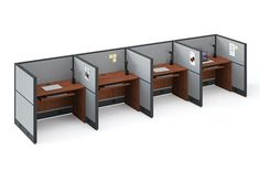 """Perfect for the """"touch down"""" space, or telemarketing.  Need just enough space for a laptop or phone?  This is an expensive solution.  Panels 48"""" high, with small desk.  Make it whatever size you need.  On a quick ship program, and i can help you figure out the size you need and what will fit.  Contact Margie@inspireyourspace.ca for more information. Office Furniture, Furniture Design, Your Space, Corner Desk, Laptop, Touch, Phone, Fit"""