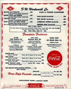 F.W. Woolworth Co. Lunch Counter Menu