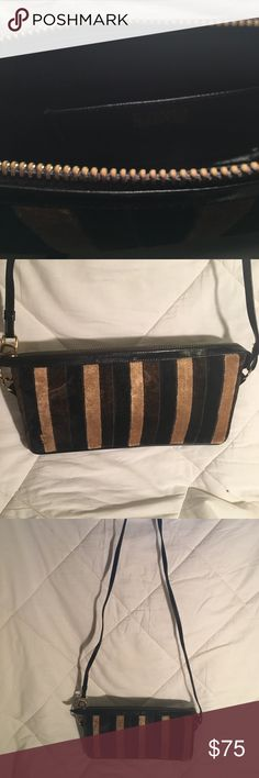 Vintage Authentic Roberta Di Camerino bag Perfect condition.  Classic Roberta Velvet.  Inside black leather lining. Tan/black and brown stripes with black leather trim. Roberta Di Camerino Bags Shoulder Bags