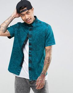 Get this Asos's denim shirt now! Click for more details. Worldwide shipping. ASOS Regular Fit Denim Shirt With Acid Wash - Green: Shirt by ASOS, Lightweight woven cotton, Point collar, Button placket, Regular fit - true to size, Machine wash, 100% Cotton, Our model wears a size Medium and is 6'0�/183 cm tall. ASOS menswear shuts down the new season with the latest trends and the coolest products, designed in London and sold across the world. Update your go-to garms with the new shapes and…