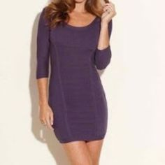GUESS PURPLE ANGELINE FORM FITTING SWEATER DRESS GUESS PURPLE ANGELINE FORM FITTING SWEATER DRESS. Worn once. In great condition. Last pic includes white insert to show back detail. Sexy dress! Guess Dresses