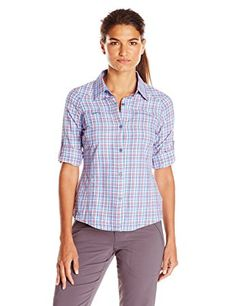b9973ac9dcc12 Columbia Women s Silver Ridge Plaid Long Sleeve Shirt - Harbor Blue Small  Plaid
