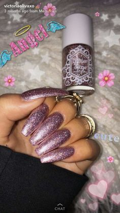 Pretty glitter nail polish idea for when you feeling sparkly! Pretty glitter nail polish idea for when you feeling sparkly! Trendy Nails, Cute Nails, My Nails, Glitter Nail Polish, Sparkly Acrylic Nails, Nail Time, Nails 2018, Ballerina Nails, Types Of Nails