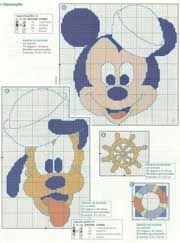 Schema punto croce Pluto-topolino-marinaretti