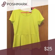Neon Yellow Peplum Shirt From Forever 21 and only worn a couple times. Let me know if you have any questions :) Forever 21 Tops