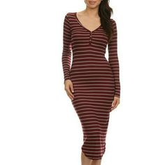 Striped Midi Dress This dress will turn heads, absolutely gorgeous! Striped, long sleeve, bodycon midi dress with button trim Dresses Midi