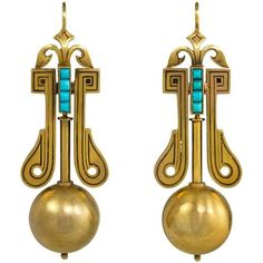 Victorian Gold Earrings with Bead Pendants and Turquoise Accents For Sale Victorian Gold, Victorian Jewelry, Antique Gold, Antique Jewellery Designs, Antique Jewelry, Vintage Jewelry, Jewelry Design, Turquoise Earrings, Gold Earrings