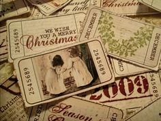 vintage style christmas tickets courtesy of blogger Miss Cutiepie.....entry Nov. 7, 2009