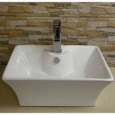 Contemporary Vitreous-China White Vessel Sink   Overstock.com Shopping - Great Deals on Bathroom Sinks