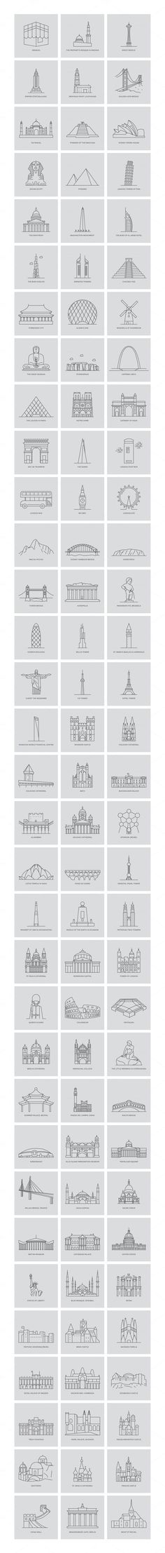 99 World Landmarks Illustration by Creative Stall on @creativemarket