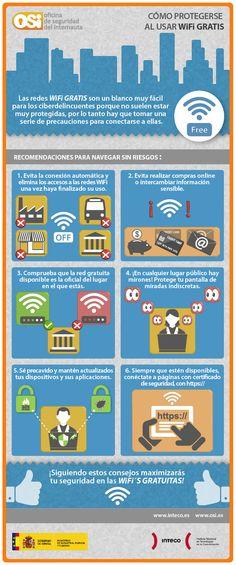 Cómo protegerte al usar WIFI gratis. Infografía en español. #CommunityManager