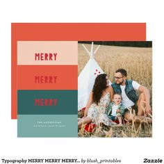 Typography MERRY MERRY MERRY Christmas Card