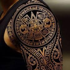 Картинки по запросу aztec tribal shoulder tattoos