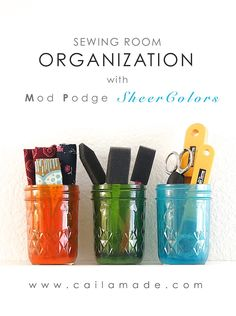 Sewing Room Organization with Mod Podge Sheer Colors. Click thru for full tutorial. #plaidcrafts #modpodge #organization