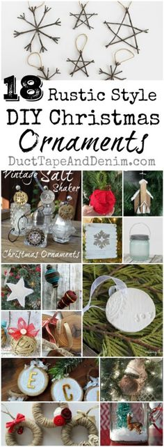 18 Rustic DIY Christmas ornaments. Tutorials, ornament ideas on DuctTapeAndDenim.com