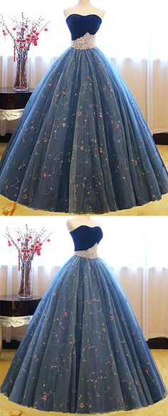 Charming Sweetheart Ball Gown Prom Dress,Blue Tulle Floor-Length Prom Dress with Pearls Beading,Princess Strapless Party Dresses,P160 #ballgowns #promdress #prom #beading #tulle #sweetheart #2018 #blue