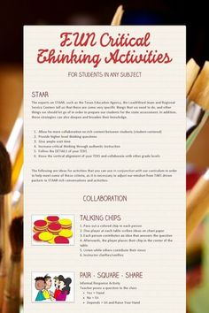 FUN Critical Thinking Activities- These don't just work in Texas! They are great strategies for increasing student engagement and deepening student thinking.