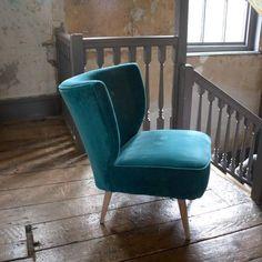 Alpana Teal Velvet Cocktail Chair | Graham & Green