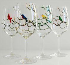 Seasonal Birds Wine Glasses - Cardinal, Bluebird, Yellow Finch and Hummingbird - 4 Piece Hand Painted Wine Glass Collection Decorated Wine Glasses, Hand Painted Wine Glasses, Wine Glass Crafts, Bottle Crafts, Bottle Painting, Bottle Art, Glass Collection, Craft Gifts, Yellow Finch