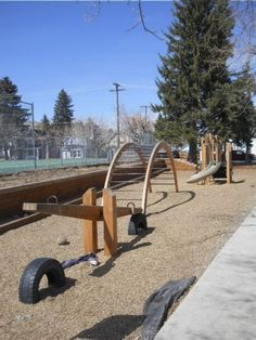 tires under each end of the Teeter Totter so it won't touch the ground