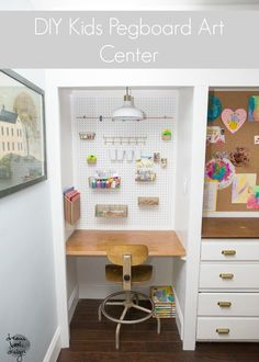 DIY Kids Pegboard Art Center. Do this in your home for under $40!!