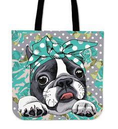 Floral Boston Terrier Turquoise Linen Tote Bag