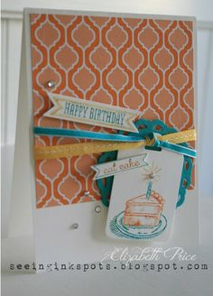 """SU!pplies: Stamps - Sketched Birthday Inks - Daffodil Delight, Pumpkin Pie, and Bermuda Bay markers Paper - Whisper White and Bermuda Bay card stock with Quatrafancy DSP Accessories - Itty Bitty Banner Framelits, Perfect Pennants Bigz L Die, Daffodil Delight Stitched Ribbon, Bermuda Bay 1/8"""" Taffeta Ribbon, Basic Rhinestones, Stampin' Dimensionals"""
