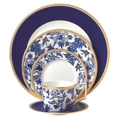 Wedgwood Hibiscus Bone China 5 Piece Place Setting, Service for 1 | Wayfair Blue Hibiscus, China Plates, China China, Blue Plates, China Sets, Dinnerware Sets, Fine China Dinnerware, Porcelain Dinnerware, China Patterns