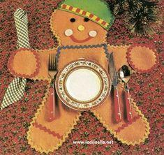 Ideas para hacer manualidades navideñas un lindo individual con forma de galleta de gengibre