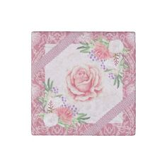 Rose Peony Blush Pink Purple Ribbons Floral Stone Magnet - flowers floral flower design unique style