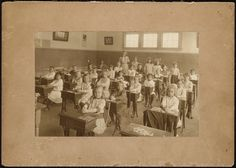 Classroom at the schoolhouse in The teacher is Lillian Murdock MM 083 082