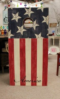Americana Corn-hole Set!!! I want this for our backyard!