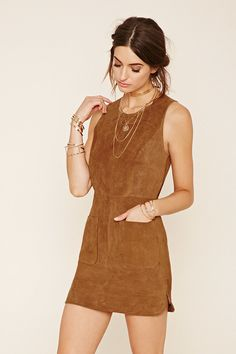 Genuine Suede Shift Mini Dress Leather w Pockets Genuine Suede With Front Patch Pockets & Dolphin Hem. Shift Dresses, Casual Day Dresses, Cute Dresses, Florida Fashion, Vestido Casual, Leather Dresses, Classic Outfits, Ideias Fashion, Fashion Looks